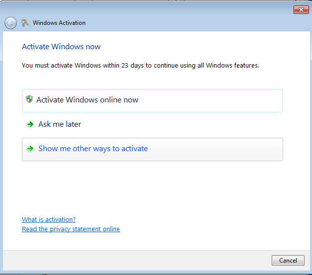 Windows 7 activation wizard
