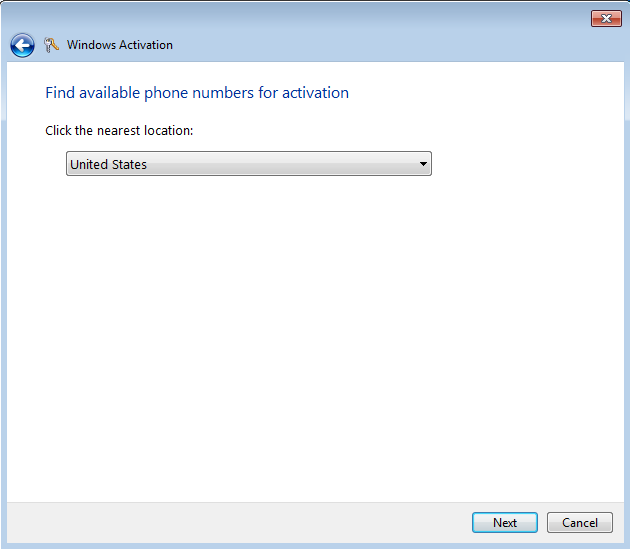 Windows 7 activation automated phone system United States