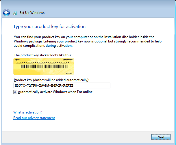 В частности При вводе ключа продукта необязательно вводить дефисы.