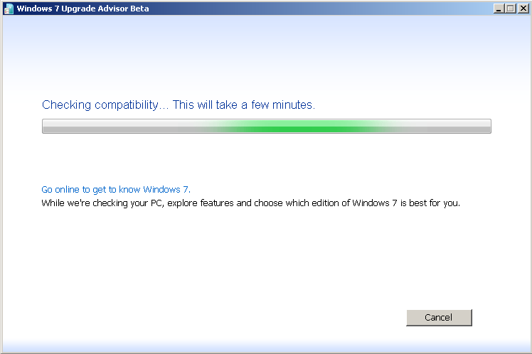 Windows 7 Upgrade Advisor Beta checking compability