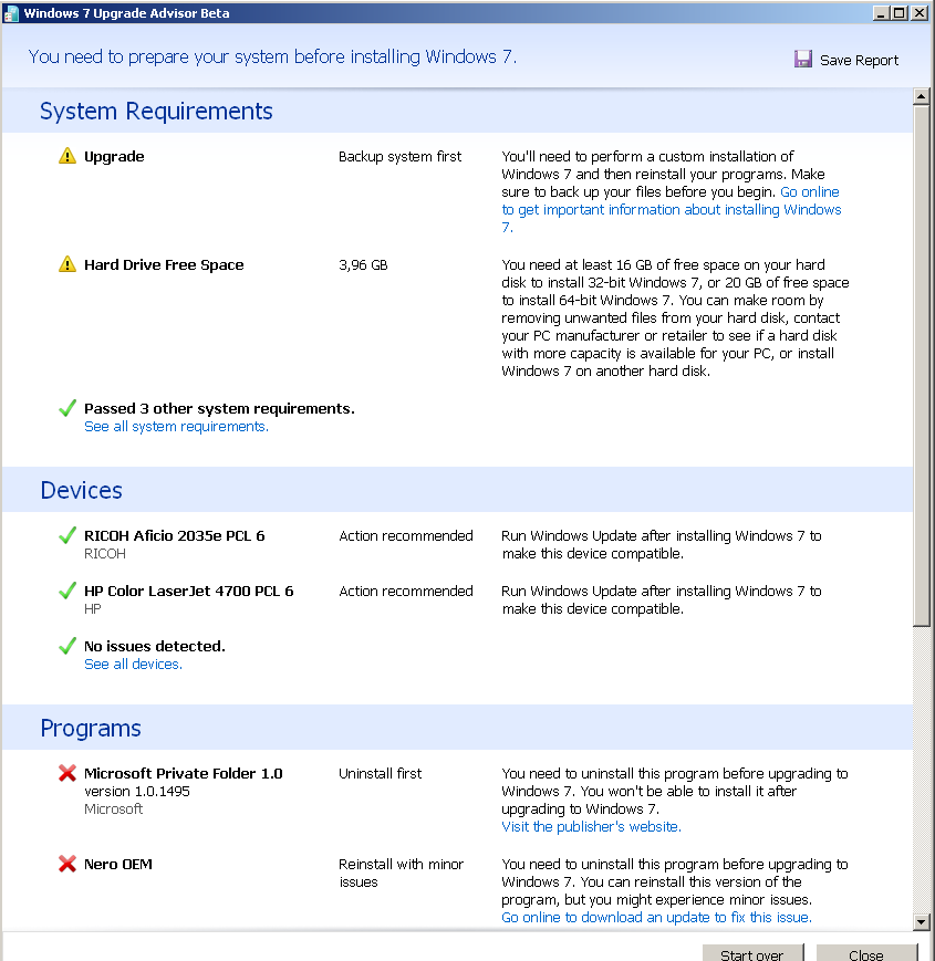 Windows 7 Upgrade Advisor Beta sample report