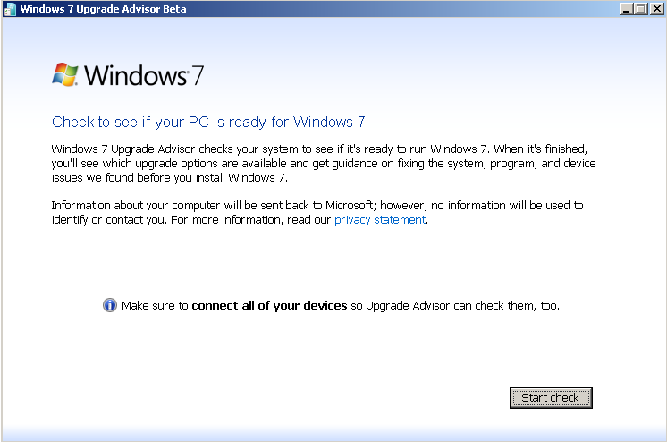Windows 7 Upgrade Advisor Beta