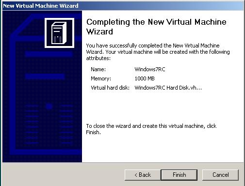 virtual machine for running Windows 7