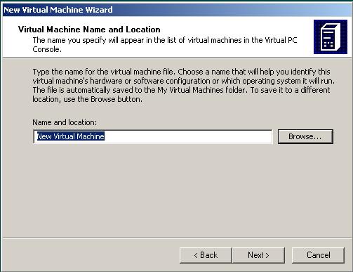 virtual machine name for Windows 7 installation