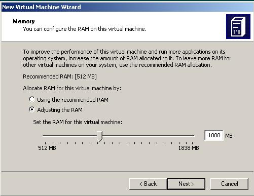 configure amount of RAM for Windows 7 virtual machine
