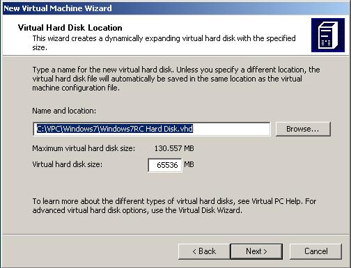 virtual hard disk location