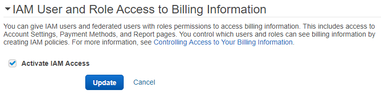Activate IAM Access to AWS Billing Service