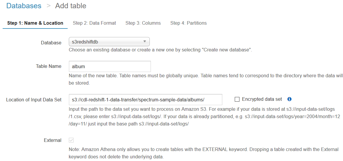 Athena table creation from Amazon S3 bucket folders