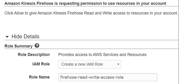allow Amazon Kinesis Firehose Read and Write permissions to AWS S3 bucket