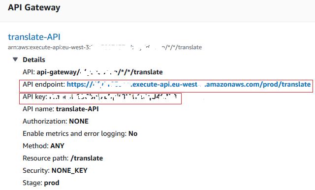 Amazon Tranlate Service with AWS API Gateway and Python Lambda Function