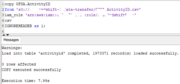 run SQL Copy command on Amazon Redshift database to import data from csv file