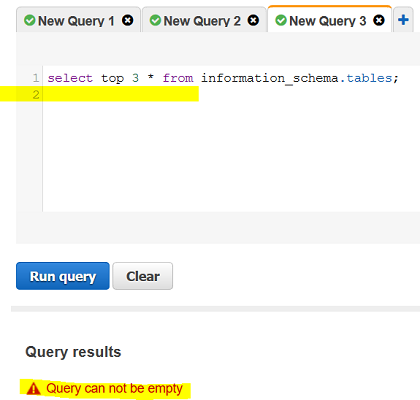 Redshift database error: Query can not be empty
