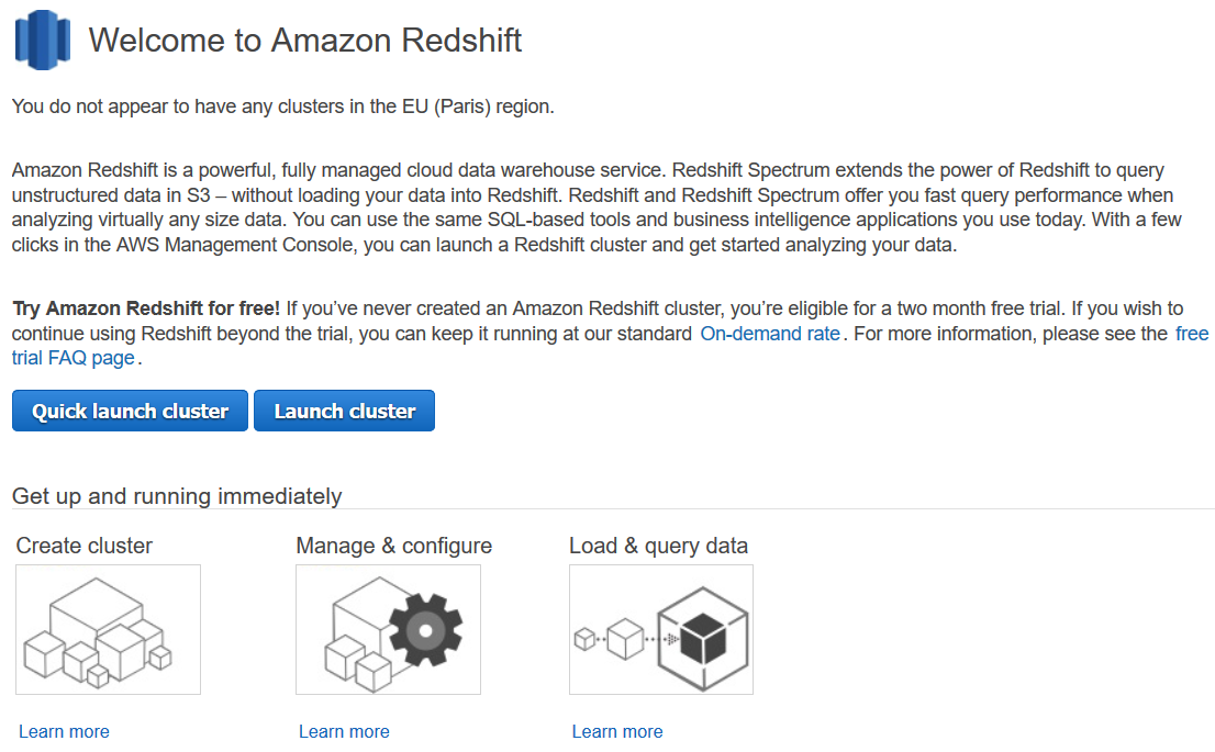 Starting with Amazon Redshift Cluster for SQL Database Developer