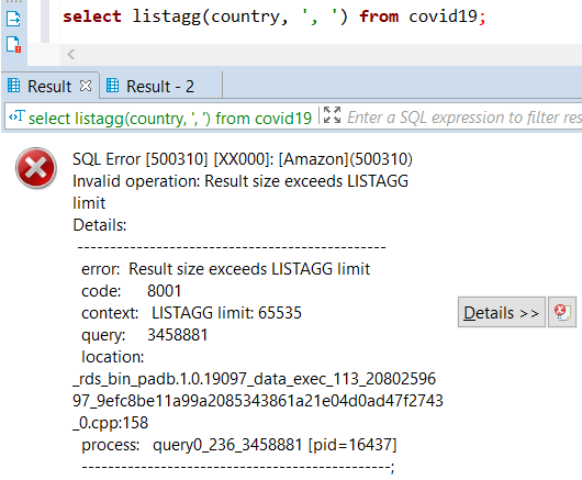 Amazon Redshift SQL error: result size exceeds ListAgg limit