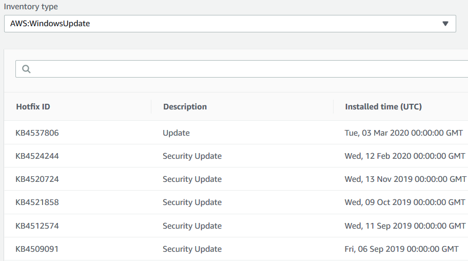 AWS Software Inventory listing Windows Updates