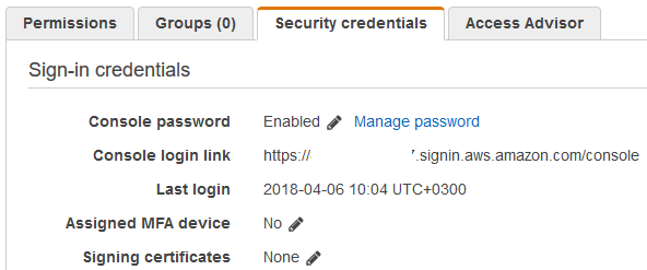 security credentials for AWS IAM user and assigned MFA device