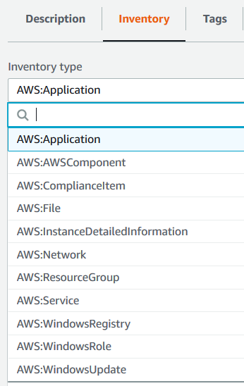 AWS Managed Instance inventory types