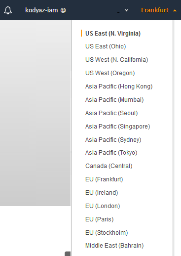 AWS Regions listed on the Console screen