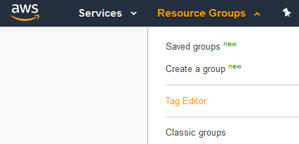 Amazon Resource Groups Tag Editor