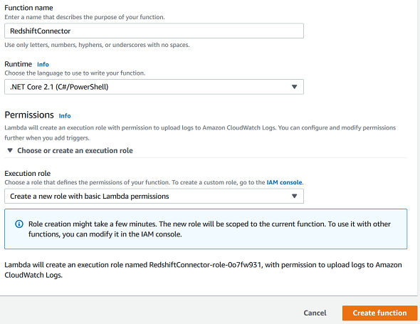 Create AWS Lambda Function to Connect Amazon Redshift with C