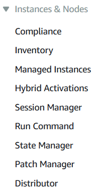 AWS System Manager services including Inventory