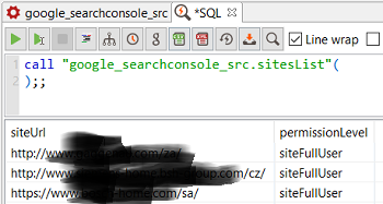 SQL code to call Google Search Console data source procedures