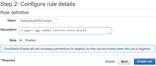 CloudWatch event rule for scheduled Lambda function calls