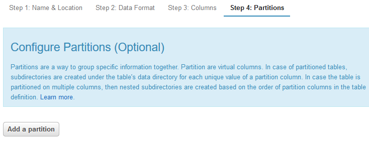 configure partition columns for Amazon Athena table to increase query performance