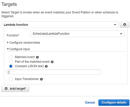 trigger AWS Lambda function with CloudWatch events