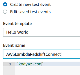 create test event for AWS Lambda function
