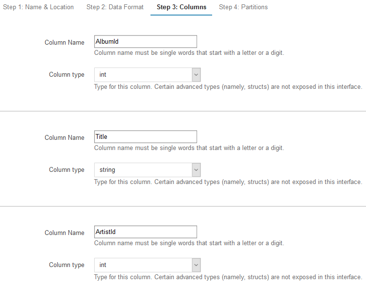 create Amazon Athena table columns defining column names and data types