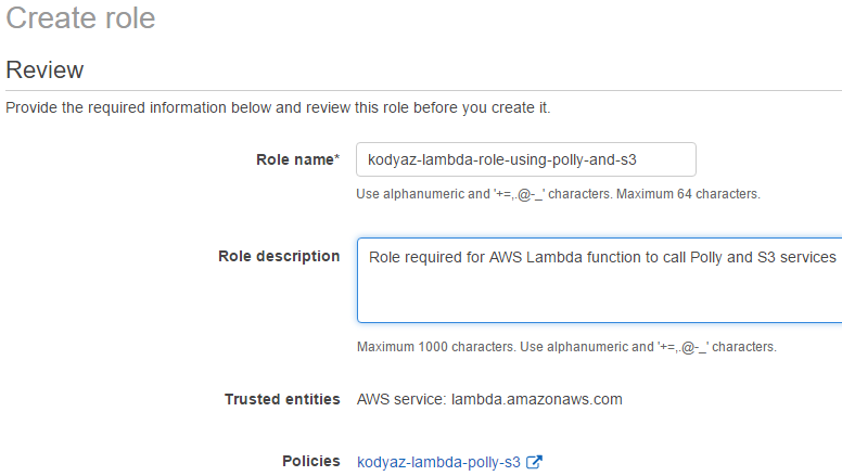 create Amazon Identity and Access Management IAM role