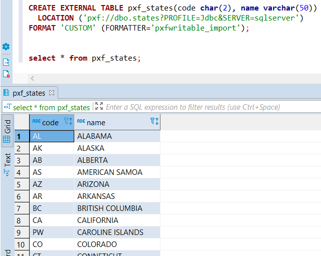 Pivotal Greenplum external table from SQL Server