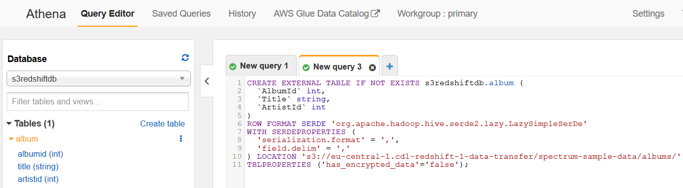 create external table in Amazon Athena database for data in Amazon S3 buckets