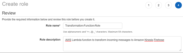 review and name your new AWS IAM role