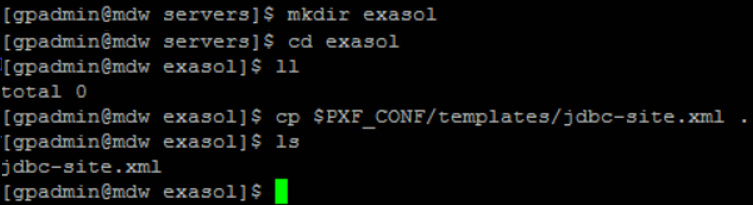 create PXF connection folder for Exasol on Greenplum