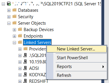create linked server on SQL Server to Redshift
