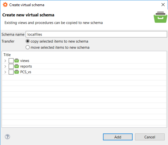 Data Virtualirt Studio create virtual schema wizard