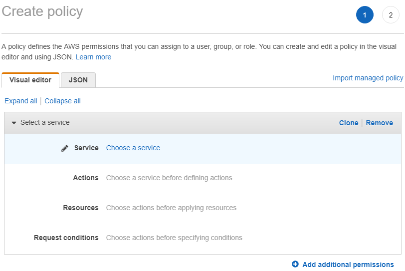 choose AWS service to create policy for IAM user