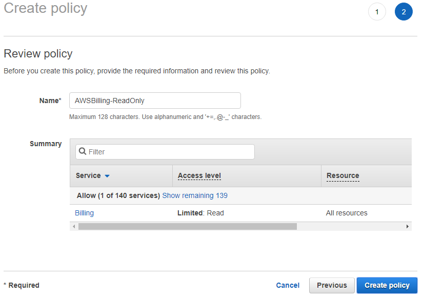 create policy for display only access to AWS Billing service