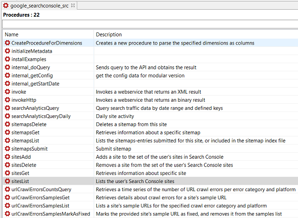 Data Virtuality Google Search Console connector procedures