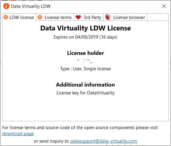 LDW Data Virtuality License details