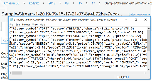 demo data in text files on AWS S3 bucket created for Amazon Kinesis Firehose