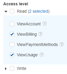 AWS Billing Service display actions