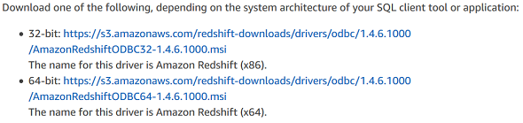 download Amazon Redshift ODBC drivers
