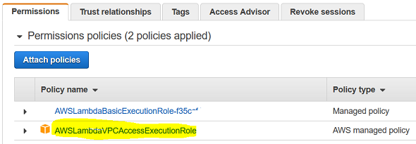 enable AWS Lambda function to access VPC resources using IAM policy