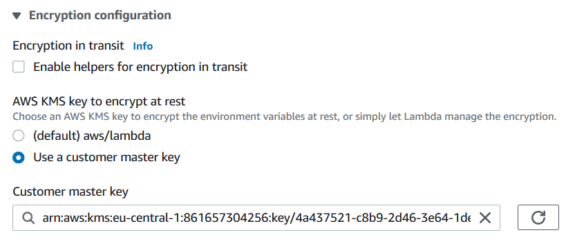 AWS Lambda Function Environment Variables Encryption Configuration
