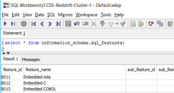 execute SQL Select command on SQL Workbench tool