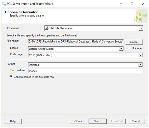 csv flat file destination to export database table data from SQL Server for Amazon Redshift