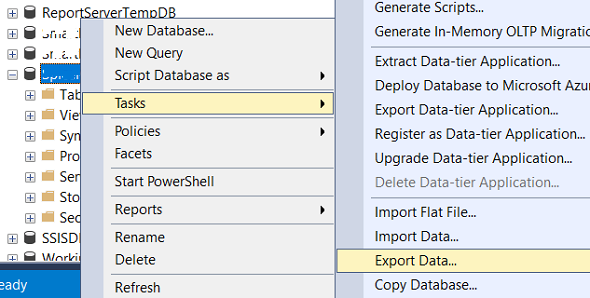 SQL Server Management Studio database tasks to export data as csv file